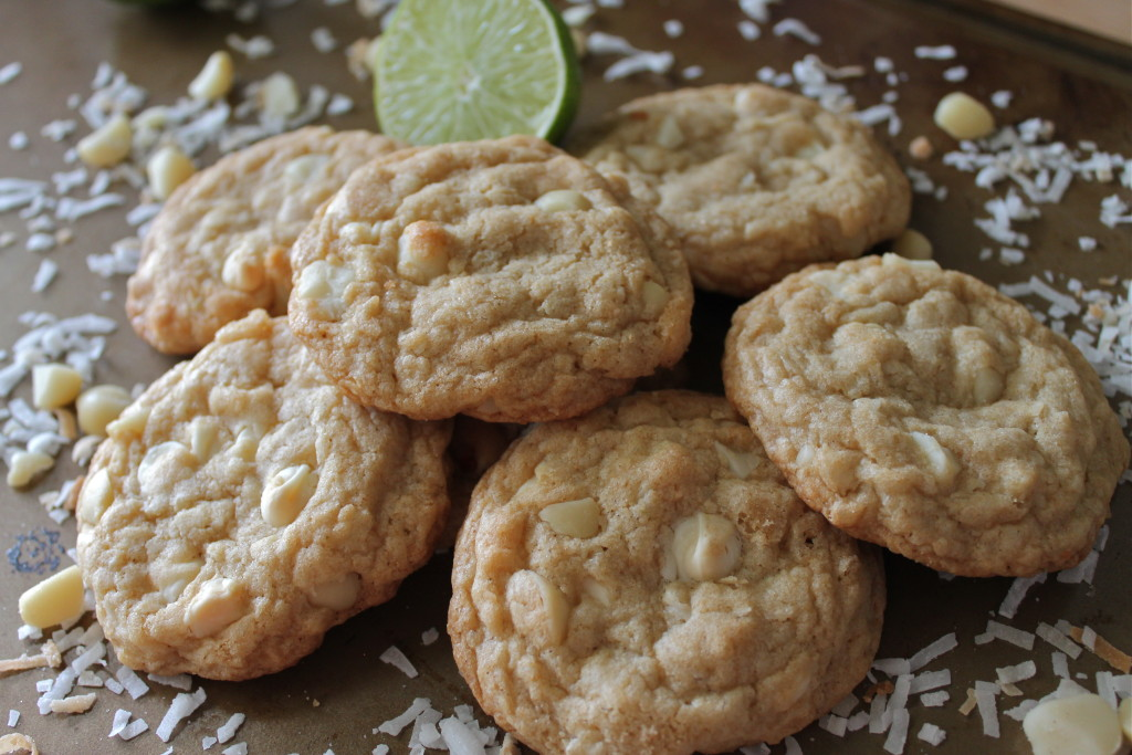 Toasted Coconut Lime White Chocolate Macadamia Nut Cookies