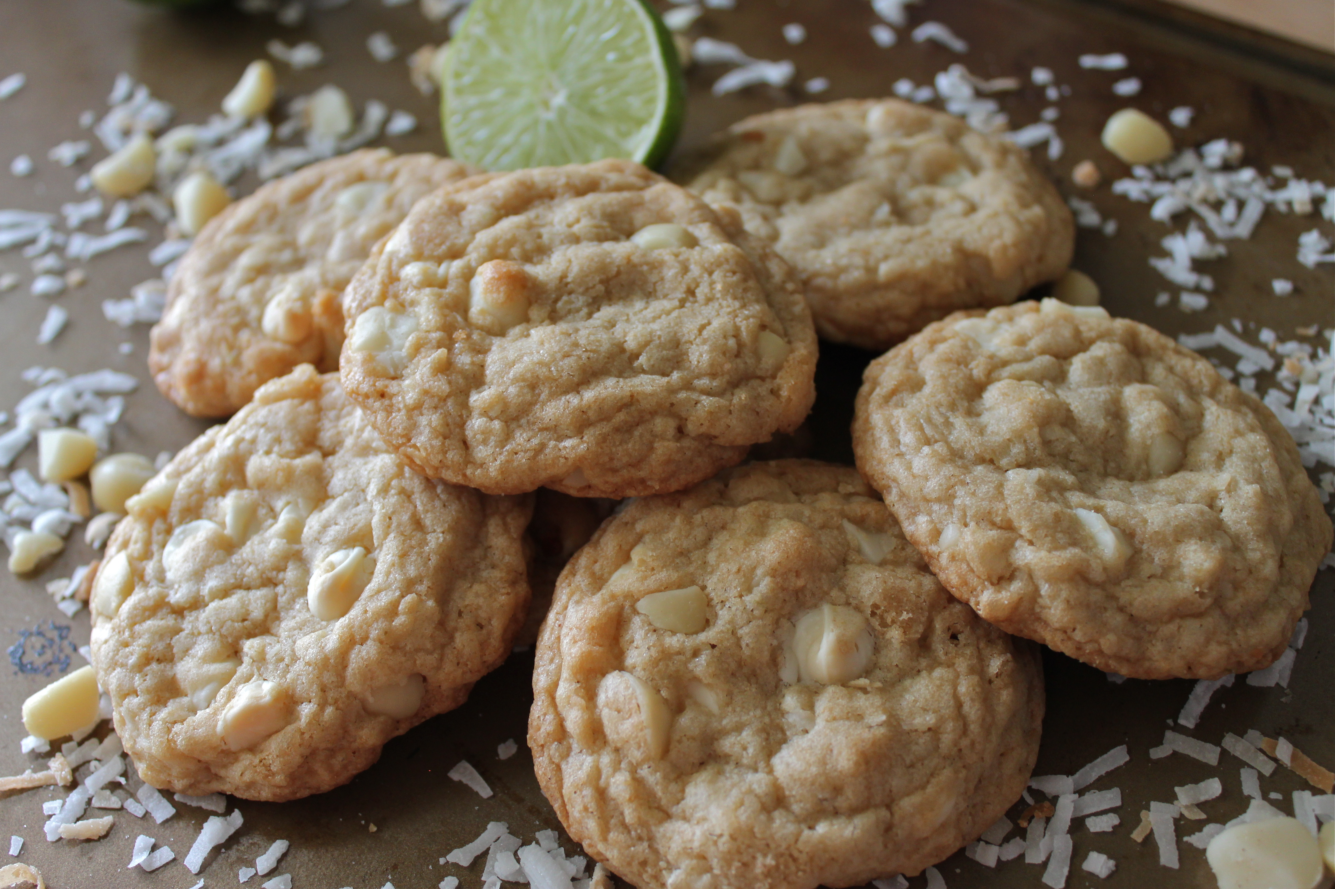 white chocolate lime coconut cookies | Moore Cookin'